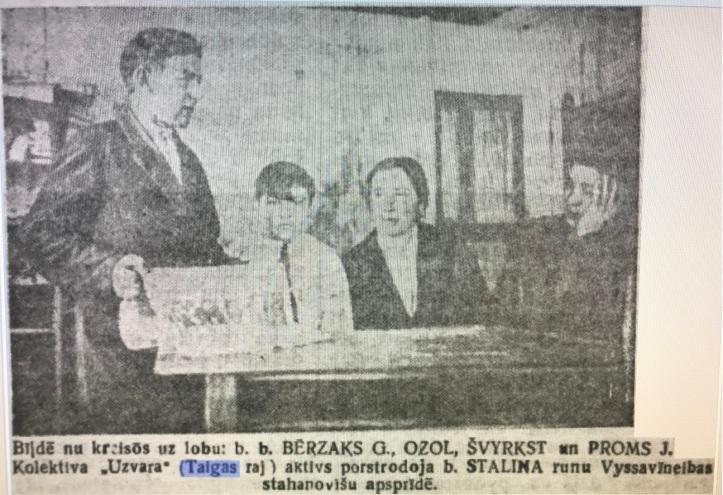Актив колхоза УЗВАРА, слева направо БИРЗАК Гавриил, ОЗОЛ, ШВЫРКСТ Анна и ПРОМ Иван. Январь 1936 год.