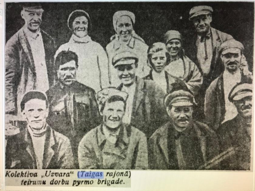 Первая полевая бригада колхоза УЗВАРА. Август 1935 года.